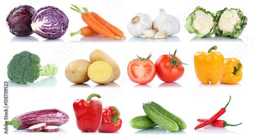 Gemüse Kartoffeln Karotten Tomaten Paprika Brokkoli Essen Sammlung Freisteller freigestellt isoliert