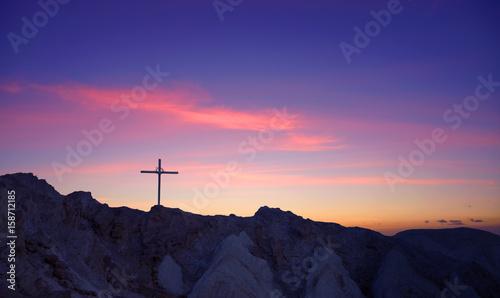 Cross at mountain top