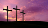 Three crosses on over dramatic sky background - 158712946