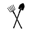 Rake and shovel gardening tools icon vector illustration graphic design