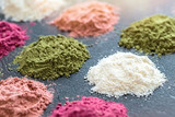 Various colorful superfood powders on dark background. Healthy food supplements, detoxing concept - 158717135