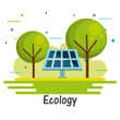 Solar panel and trees with ecology sign over white background vector illustration