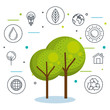 Trees and hand drawn eco friendly items stickers over white background vector illustration