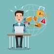 scene color programmer man in desk with laptop preventing global attack vector illustration