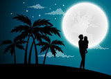 Happy Father's Day, silhouette of a father holding Daughter.full moon background.Vector illustration