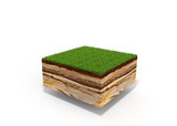 3d illustration of cross section of ground with grass isolated on white - 158730732