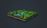 3d illustration of a soil slice, blue river, green meadow with trees isolated on dark background
