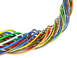 A bunch of multi-colored electric wires. 3D illustration