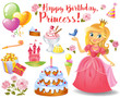 Cute birthday design elements