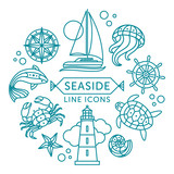 Seaside line icons