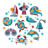 Seaside icons set