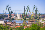 Cranes of the shipyard in Gdansk, Poland - 158752744