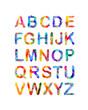 Triangular vector alphabet. Multicolored letters