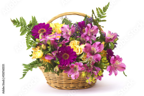 Aluminium Gerbera colorful flowers in a basket