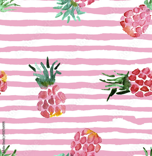 Materiał do szycia The seamless pink pattern of fresh fruit pineapple. Hand drawn watercolor painting on white background.