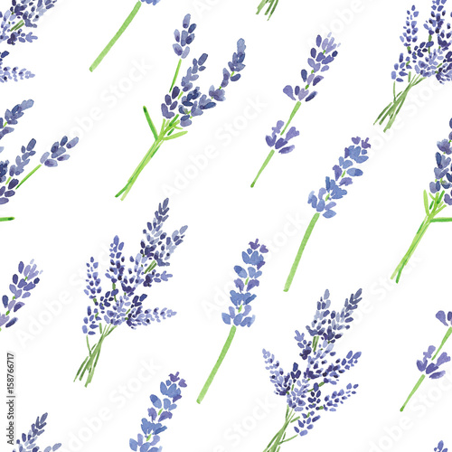 Watercolor lavender pattern - 158766717