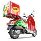 Delivery pizza scooter in iatalian style with box