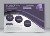 Flyer, brochure, billboard template design landscape orientation for education, presentation, website. Purple color. Editable vector illustration.