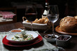 Italian dinner with breads, water and wine, table tidy - 158774326