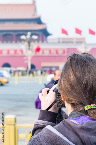Foto op Canvas Peking tourist photographs The Tiananmen monument