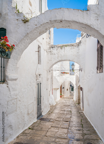Scenic view in Ostuni, city located about 8 km from the coast, in the province of Brindisi, region of Apulia, Italy.