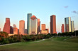 Houston Downtown Skyline Illuminated at Sunset