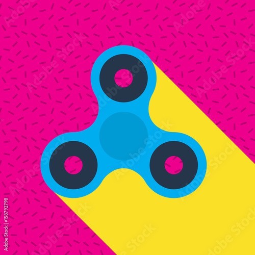 Fidget spinner Memphis style vector icon. Finger spinner stress relieving toy. Hand spin toy icon.