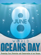 Underwater View of Number Eight to Commemorate World Oceans Day, Vector Illustration