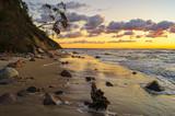 Seascape, sunset over the sea.