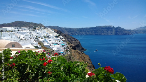 Beautiful bright panoramic view of Oia in Santorini - the white buildings, the bright sea and beautiful plants in the foreground