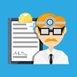 doctor with head mirror and glasses with medical prescription vector illustration