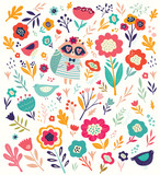 Pattern with cute raccoon and flowers