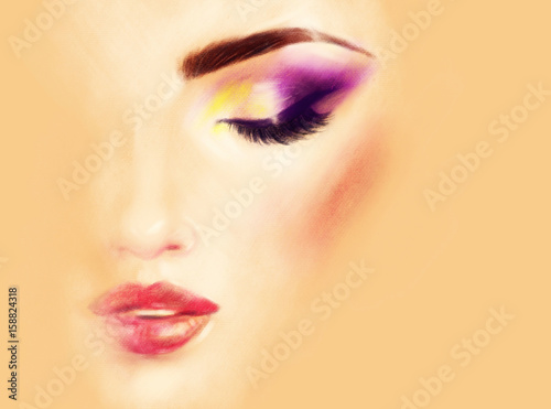 Make up. Beautiful woman face. Fashion illustration