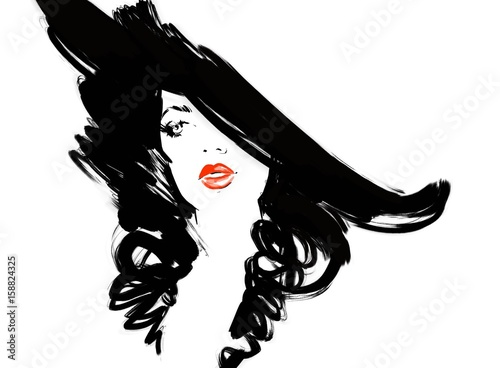 Beautiful woman with hat. Fashion illustration