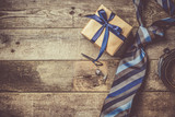 Father's day concept - present, tie on rustic wood background - 158825161