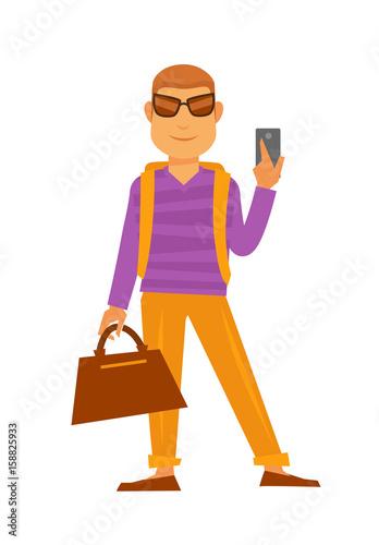 Man with handbag and smartphone vector flat icon travel holiday vacations