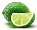 Fresh lime with slices with leaf