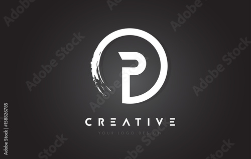 P Circular Letter Logo with Circle Brush Design and Black Background.