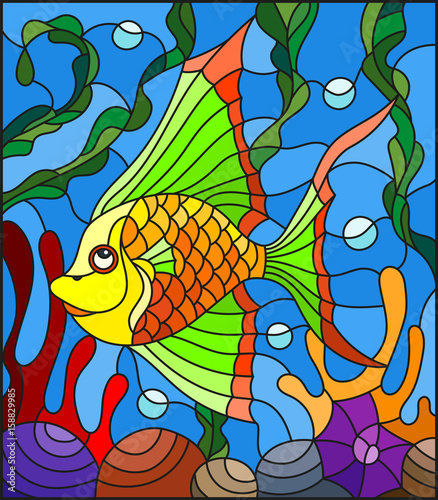 illustration-in-stained-glass-style-with-abstract-colorful-exotic-fish-amid-seaweed-coral-and-shells