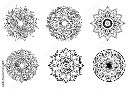 Mandala symbols for coloring