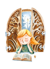 Watercolor illustration.  The girl with book dreaming about a fairy tale story in the book, wich she reading.