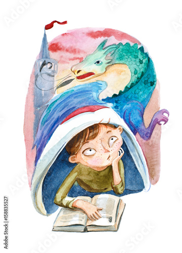 Watercolor illustration. The boy with book dreaming about a big dragon - 158835527
