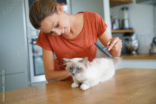Woman brushing cat's hair