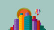 Cityscape with colorful buildings, balloon and sun, eps10 vector - 158839715