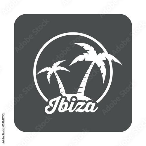 Icono plano Ibiza en cuadrado gris