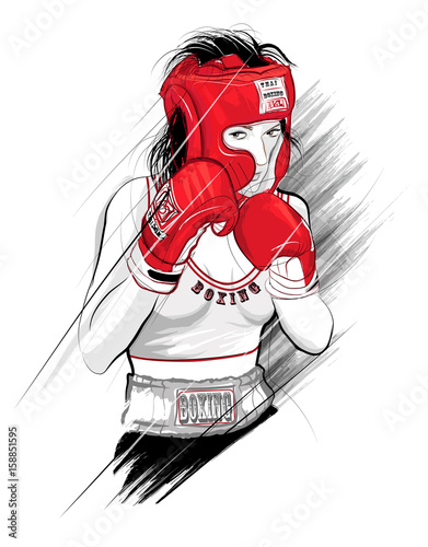 Poster Art Studio Thai boxing, woman fighting - Vector illustration