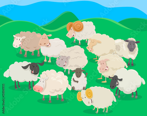 Aluminium Boerderij flock of sheep cartoon illustration