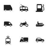 Set Of 9 Editable Transport Icons. Includes Symbols Such As Tramcar, Motorbike, Ship And More. Can Be Used For Web, Mobile, UI And Infographic Design.