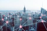 Netzwerk über Großstadt - 158864361