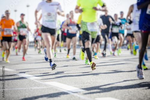 marathon runners in the city